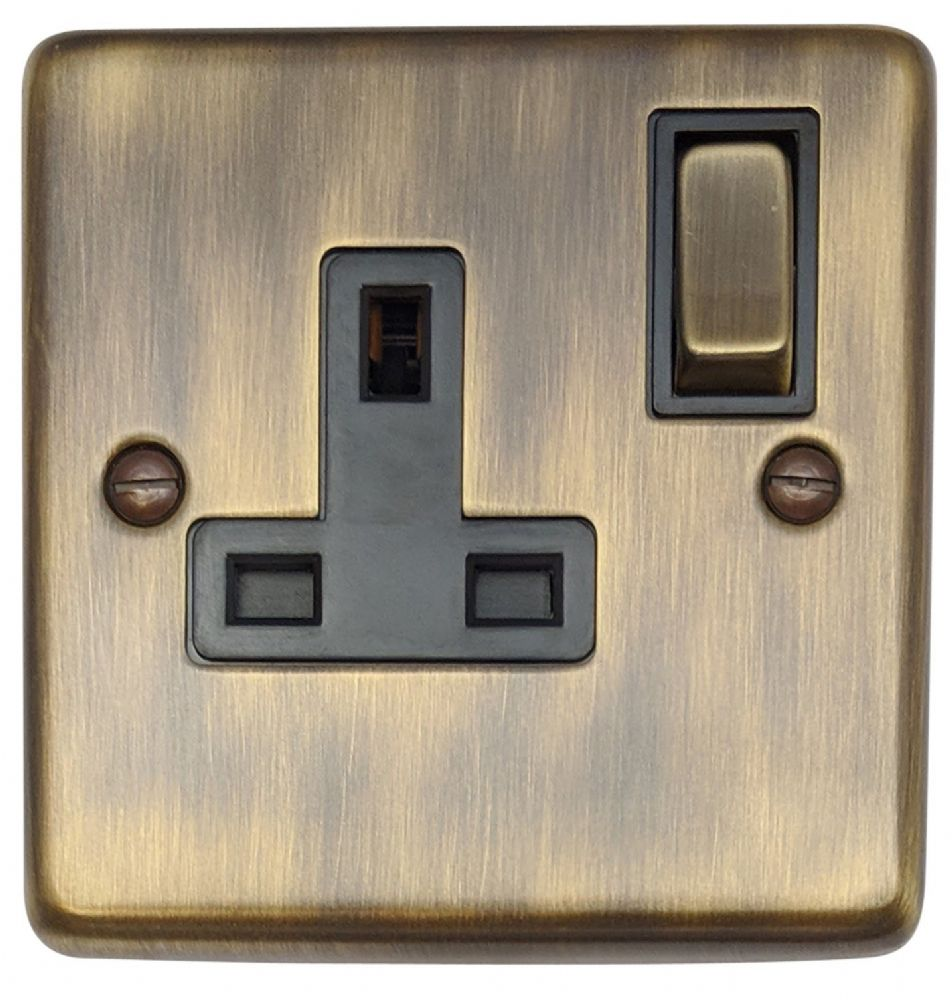 G&H CAB309 Standard Plate Antique Bronze 1 Gang Single 13A Switched Plug Socket